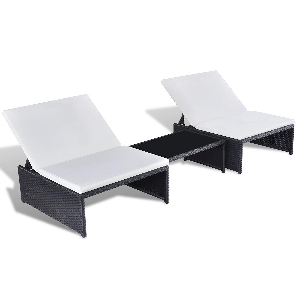 SSITG Poly Rattan Sonnenliege Lounge 2-er Liege Gartenmöbel Tisch verstellbare Lehne