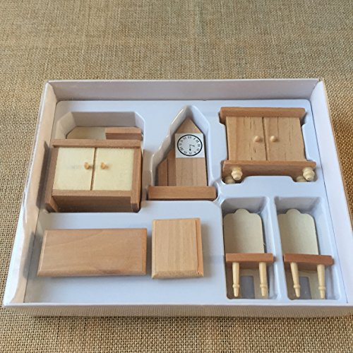 4 boxes set dollhouse miniature unpainted wooden furniture for Scale model furniture