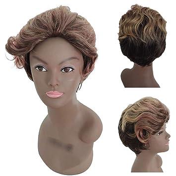 Gaddrt Mix Color Fashion Short Sexy Peluca Wavy Black Women ...