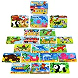 BBLIKE Wooden Jigsaw Puzzles Toy for Kids 224pcs Puzzles in 4 Tin Boxes,Varying Degree of Difficulty Educational Tool Best Birthday Present for Boys Girls (B)