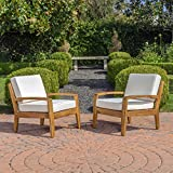 Parma 4 Piece Outdoor Wood Patio Furniture Chat Set w/Water Resistant Cushions (Set of Two Chairs, Beige) For Sale