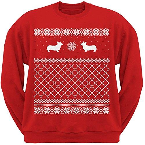 amazoncom corgi red adult ugly christmas sweater crew neck sweatshirt clothing