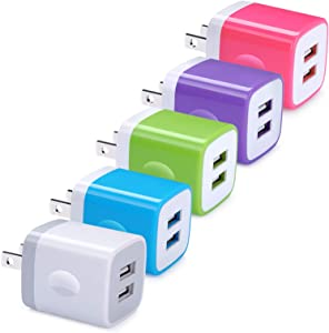 USB Wall Charger, GiGreen 5 Pack Dual Port Quick Charging Power Adapter 2.1A Cube Plug Block Compatible iPhone X/8/7/7 Plus/6S/6 Plus/5, Samsung Galaxy S9 S8 S7 S6 Edge, HTC, Nexus, Moto, Google Pixel