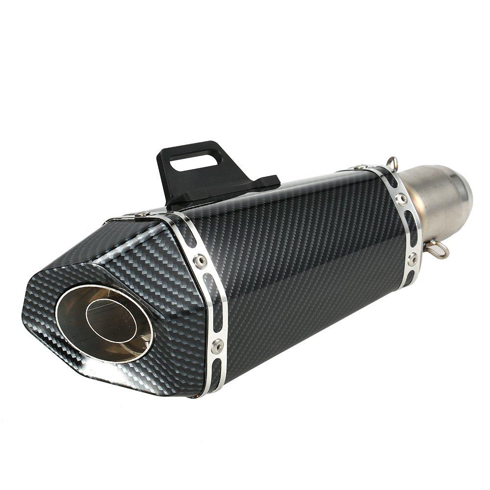 KKmoon 51 mm Terminali di Scarico Silenziatore di Scarico Rimontare in Fibra di Carbonio Artificiale del Silenziatore del Tubo Piccolo Esagonale Stile per Motociclo ATV Universale