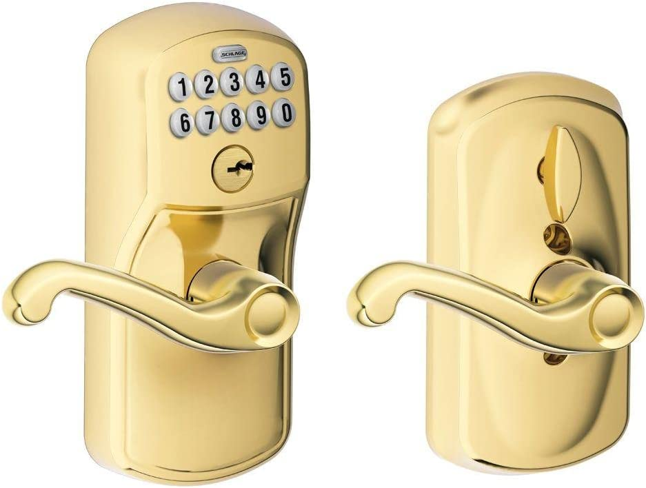 Schlage FE595 PLY 505 FLA Plymouth Keypad Entry with Flex-Lock and Flair Style Levers, Bright Brass