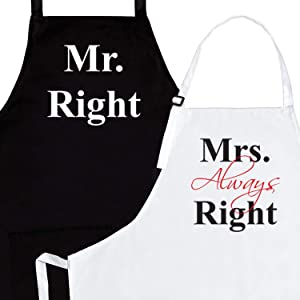 Mr Right Mrs Always Right His and Hers Aprons - Engagement Gifts for Couples | Couple Gifts for Him and Her | Funny Apron Wedding Gifts / 50th Anniversary/Bridal Shower Gifts - by Prazoli