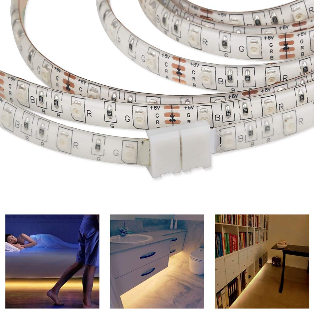 FISHBERG 10PCS 4-Pin RGB LED Light Strip Connector Adapter for 8MM 3528 Multicolor LED Strip