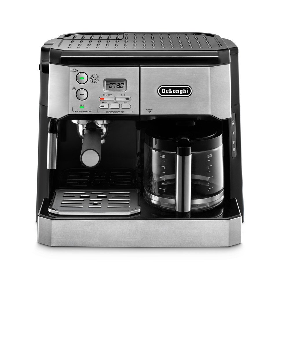 DeLonghi BCO430 Combination Pump Espresso and 10-cup Drip Coffee Machine with Frothing Wand, Silver and Black DeLonghi America