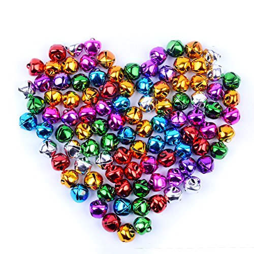 BronaGrand 100pcs Jingle Bells Small Bell Mini Bells Bulk for Christmas Wedding Decoration and Jewelry Making,10mm,Colorful