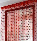 India Furnish Beautiful Heart Design Thread Strings Polyester Door Length Curtains (Red, 60x40-inch) - Set of 2 Pieces