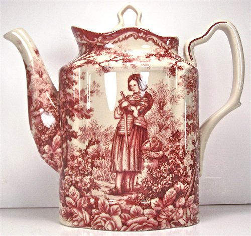 Red Toile Teapot - Classic Red French Toile Teapot Joan of Arc