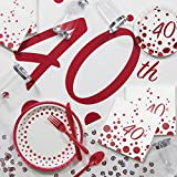 Large Sparkle and Shine Ruby Deluxe 40th Anniversary Party Supplies Kit
