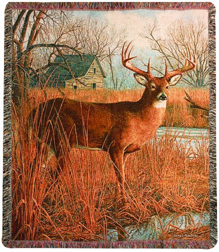 Manual The Lodge Collection 50 x 60-Inch Tapestry Throw with Fringe, His Side of The River by James Hautman