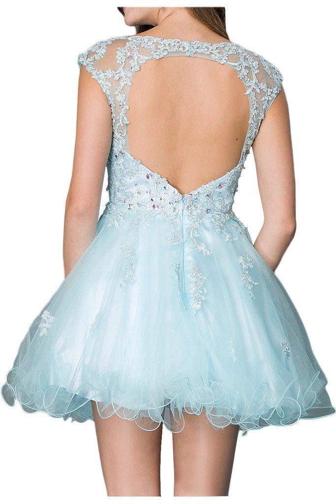 Milano Bride Damen Liebling Tuell Heimkehrkleider Abendkleid Partykleid  Steine Applikation Kurz: Amazon.de: Bekleidung