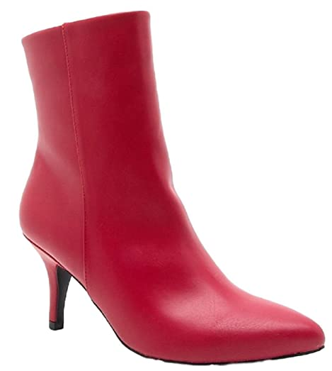 Portia-05 Ankle High Pointed Pointy Toe Kitten Heel Boots RedRed