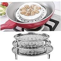 Case Cover 1 x ronde stomer Rack Dumpling-container voor levensmiddelen Steaming Bakken Roasting Drie Legged Koken Tool…