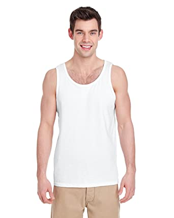 0021610932 Gildan Heavy Cotton Tank Top. 5200 White at Amazon Men's Clothing store: