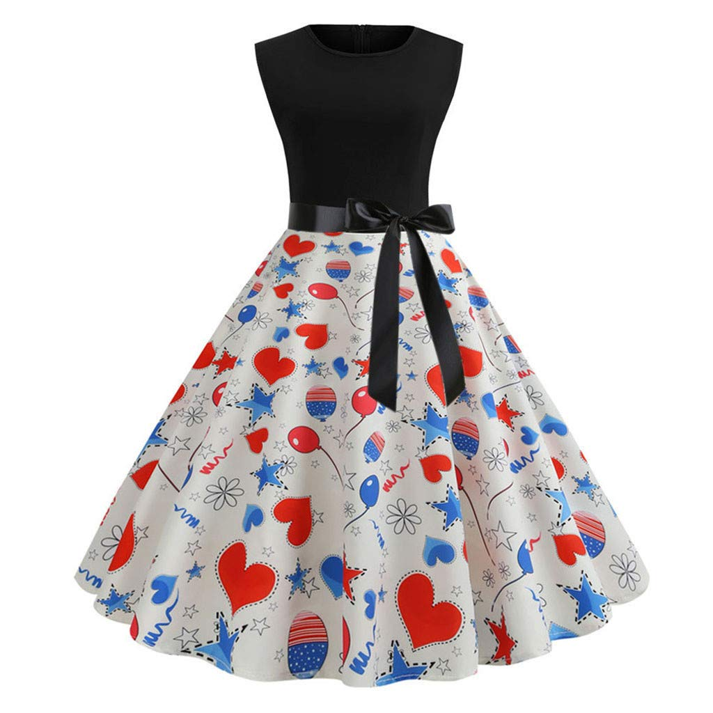 Big Sales! 50S 60S Vintage Dresses Sleeveless for Women Floral Print Casual Pleated Belt Prom Swing Dresses for Summer