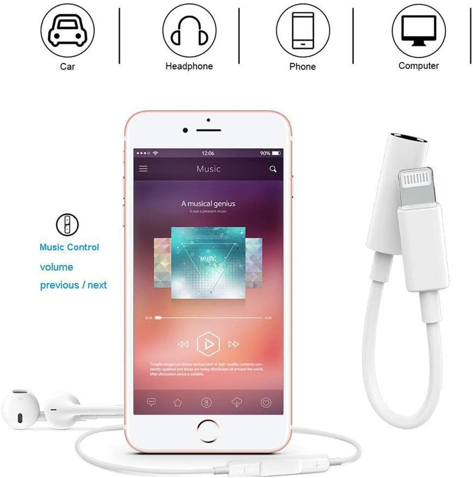 Apple MFi Certified Apple Lightning to 3.5 mm Headphone Jack Adapter Cord Dongle Aux Cable Earphones//Headphone Converter Accessories Compatible with iPhone 11//Xs//XR//X//8,7//8,7 Plus//ipad-IOS13-2 Pack