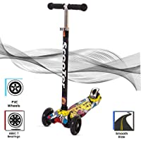 BAYBEE Funbee DoodleSkate 2Wheel 3 AdjustableHeight with RearBrake and Suspension,7 LEDFlashing Lightup wheels with Scooter for Kids - Yellow