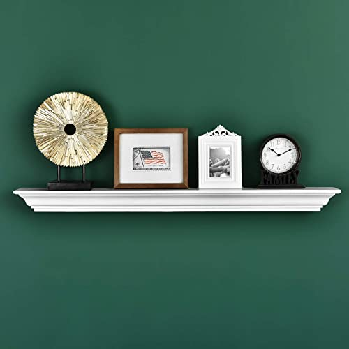 WELLAND Jefferson Crown Molding Floating Shelves Mantel Shelf 48-Inch, White
