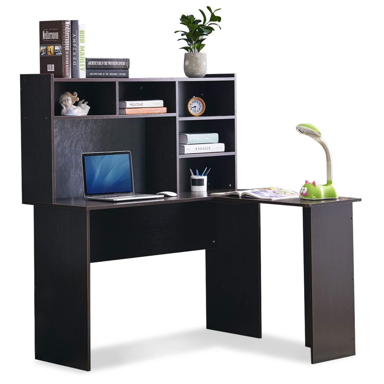 Gentil Amazon.com: Mcombo Corner Desk L Shaped Desk Computer Desk Executive Desk  With Hutch Home Office Furniture Dark Brown 7194BK: Kitchen U0026 Dining