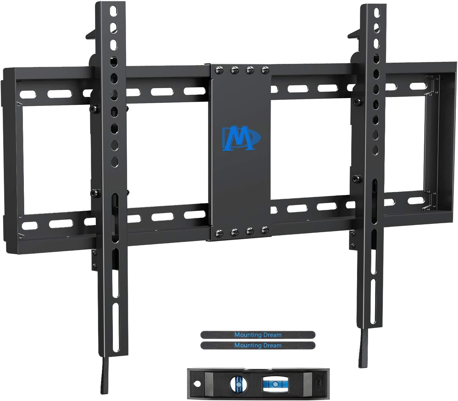 "Mounting Dream TV Wall Mount TV Bracket with Leveling Design for 37-70 inch TVs, Fixed TV Mount with Max VESA 600x400mm Weight up to 132 LBS, Low Profile TV Wall Mounts Fit 16"", 18"", 24"" Wood Studs"