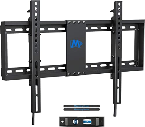 Mounting Dream TV Wall Mount TV Bracket with Leveling Design for 37-70 inch TVs, Fixed TV Mount with Max VESA 600x400mm Weight up to 132 LBS, Low Profile TV Wall Mounts Fit 16 , 18 , 24 Wood Studs