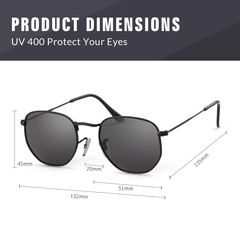 6214d460a6c Hexagonal Polarised Sunglasses Women Men Gifiore UV400 Flat Mirrored Lens  Metal Rim Geometric Unisex Glasses  Amazon.co.uk  Clothing