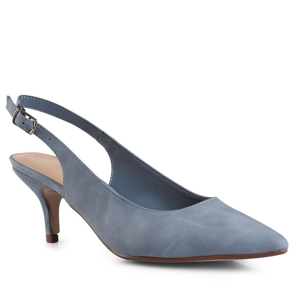 LUSTHAVE Women's Betty Kitten Heel Sling Back Closed Pointy Almond Medium Heel Pumps Shoes Blue 7.5