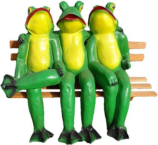 Figura ranas sentado sobre madera banco jardín decoración animal Figura, Figuras Decorativas Decoración Estatua: Amazon.es: Jardín