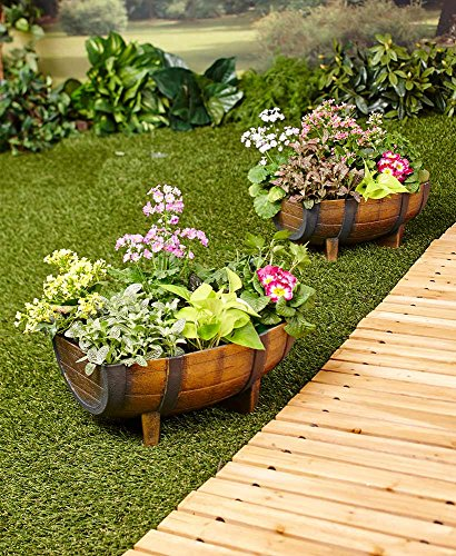 The Lakeside Collection Set of 2 Half Barrel Planters