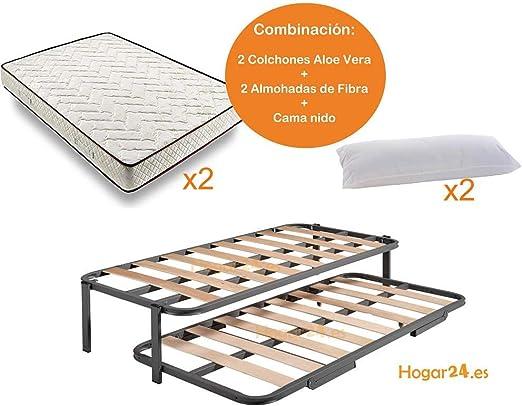 HOGAR24 ES.es-Cama Nido Estructura Reforzada Doble Barra Superior (4 Patas) + 2 Flexitex + 2 Almohadas de Fibra, 80x190cm