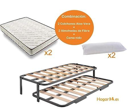 HOGAR24 ES Cama Nido Estructura Reforzada Doble Barra Superior (4 Patas) + 2 Flexitex + 2 Almohadas de Fibra, 80x200 cm: Amazon.es: Juguetes y juegos