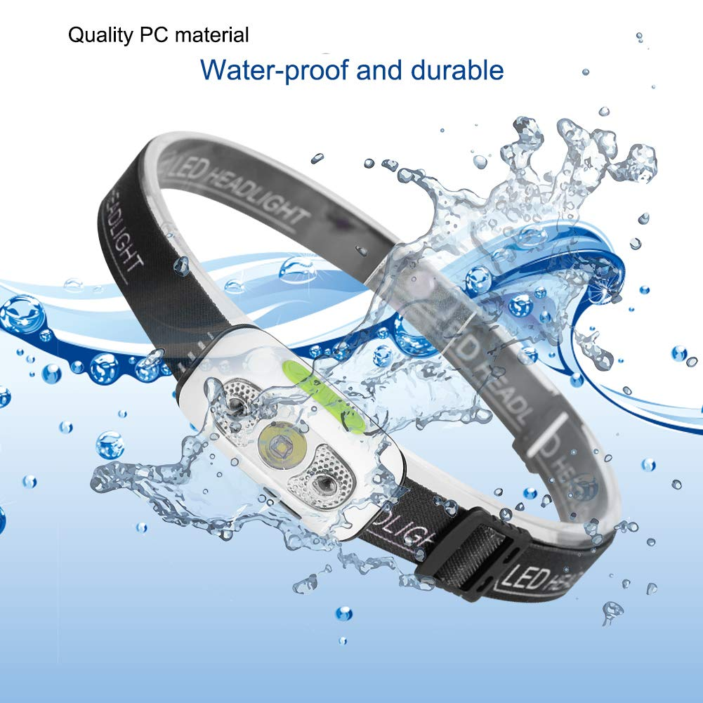 Outdoor Activities Inductive LED Headlamp Flashlight,Lightweight Waterproof USB Rechargeable Headlamp for Running,Camping,Hiking,Hunting,Fishing Yosoo