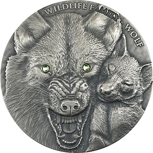 (2017 NU Wildlife Family PowerCoin WOLF 1 Oz Silver Coin 1$ Niue 2017 1 Oz Antique Finish)