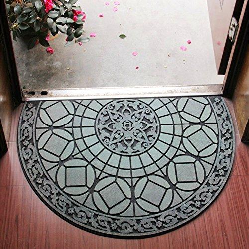 Eanpet Sassafras Doormat Outdoor Rubber Mat for Front Door Entrance Mat Indoor Entry Rug Shoes Scraper for Front Door Entrance Non Slip Dirt Trapper Mat Flocking Outside Doormat Half Round