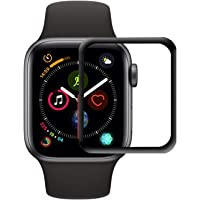 Colorcase Front Tempered Glass Screen Scratch Guard Protector [Max Coverage] [Anti-Bubble] [Anti Fingerprint] HD Clear Display for Apple Watch Series 4 44mm - {Black}