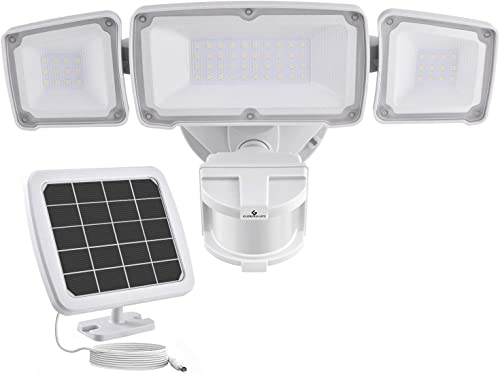 GLORIOUS-LITE Solar Security Light Outdoor, 1600LM Solar LED Motion Sensor Light with 3 Adjustable Head, 5500K, IP65 Waterproof Flood Light for Backyard, Pathway Patio