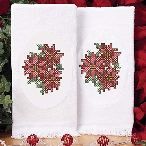 Herrschners® Victorian Poinsettias Terry Towel Pair Stamped Cross-Stitch