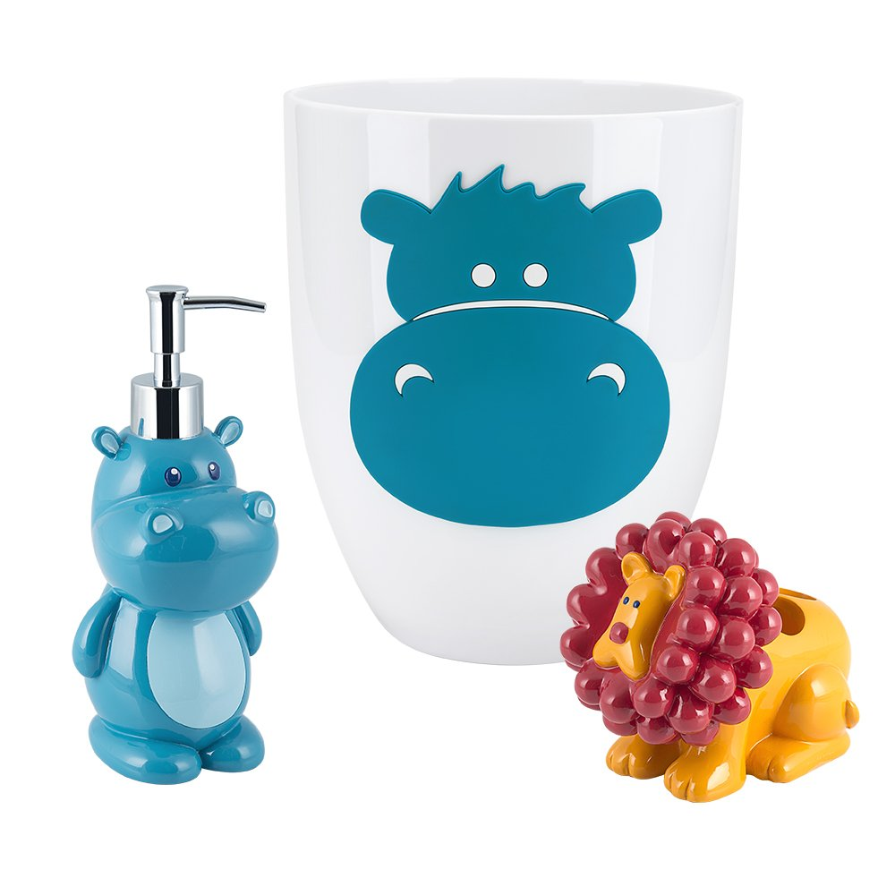 Allure Home Creations Hippo 3-Piece Bathroom Accessory Set - 1 Lotion Pump,1 Toothbrush Holder and 1 Wastebasket