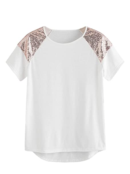 5c71fc8cec SheIn Women's Casual Short Sleeve Contrast Sequin Round Sleeve T-Shirts  Tops at Amazon Women's Clothing store: