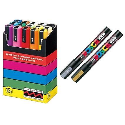 Set of 15 Medium Point uni-posca Paint Marker Pen PC-5M15C