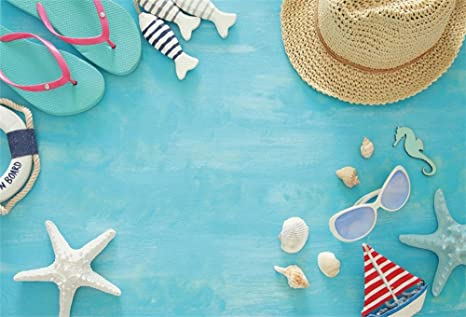 a8d892152 LFEEY 7x5ft Polyester Beach Party Background for Photos Slipper Life Saver  Ring Seashells Blue Wood Board