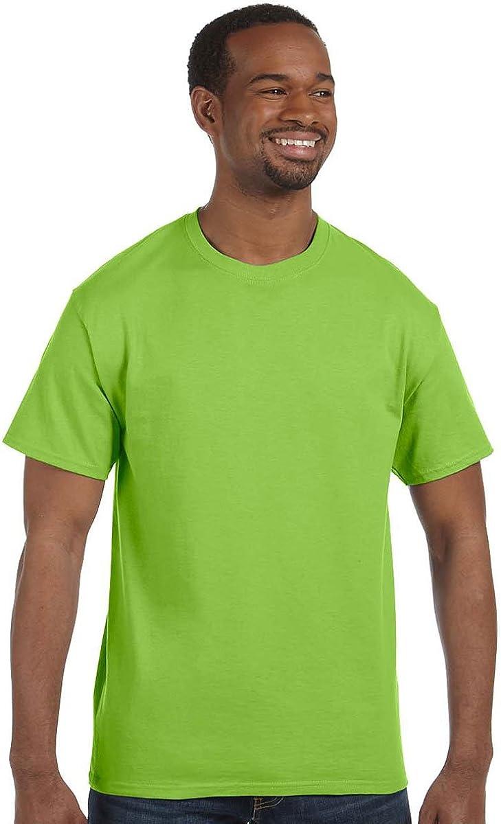 Hanes mens 6.1 oz. Tagless T-Shirt(5250)-Lime-L