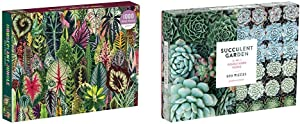 Galison Houseplant Jungle 1000 Piece Jigsaw Puzzle for Adults – Plant Jigsaw Puzzle with Mix of Succulents & Other Household Plants, Multicolor & Succulent Garden 500 Piece