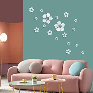 18 Pieces Removable Acrylic Mirror Setting Wall Sticker Decal for Home Living Room Bedroom Decor (Silver)