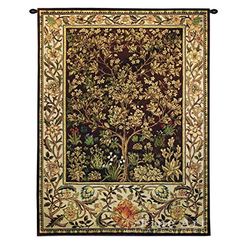 Tree of Life Umber by William Morris - Woven Tapestry Wall Art Hanging for Home Living Room & Office Decor - Eternal Ornate Life, Heaven and Earth - 100% Cotton - USA