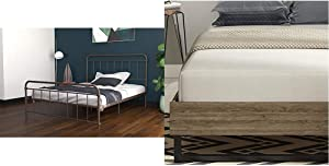 "DHP Winston Metal Bed Frame, Multifunctional Piece with Adjustable Heights for Under Bed Storage, Bronze - Queen with Signature Sleep 10"" Memory Foam Mattress, Queen, White"
