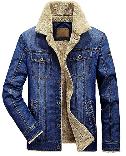 9e69cc353b6 Wintie Men's Classic Fit Blue Faux Shearling Collar Slim Denim Jackets  Light Blue M